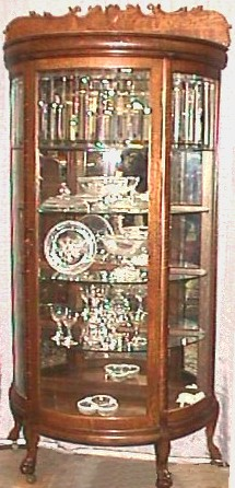 Oak Half Round China Cabinet With Bevelled Glass
