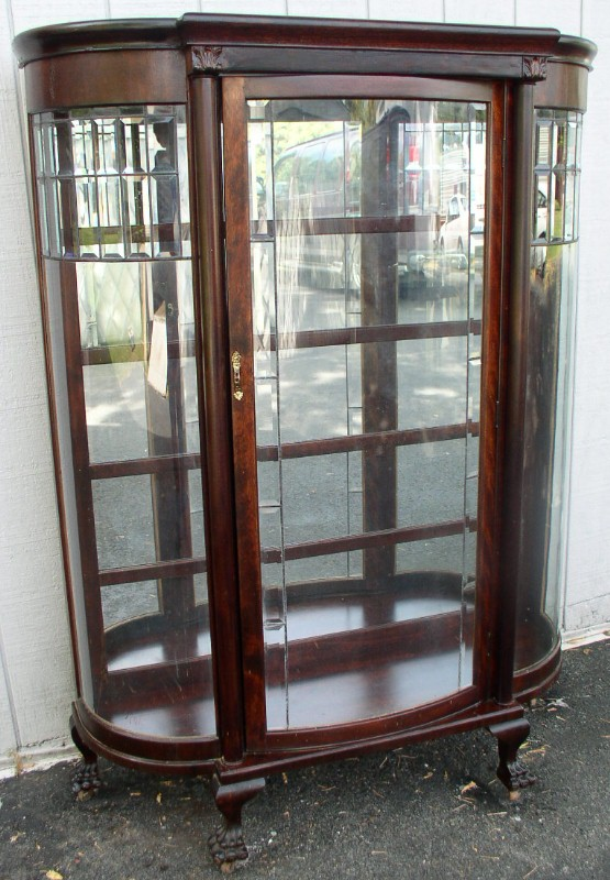Mahogany Clawfoot China Cabinet with Curved Leaded Glass Door, BRASS  LANTERN ANTIQUES - Mahogany Clawfoot China Cabinet With Curved Leaded Glass Door, BRASS