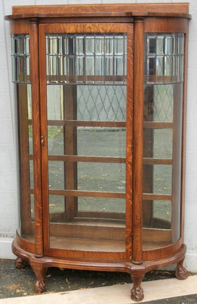 Larkin Oak China Cabinet With Leaded Glass Door Brass Lantern Antiques
