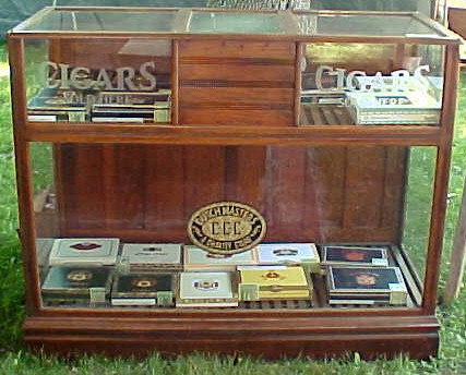 Oak Cigar Store Display Case - Country Store Display Cases Archive, BRASS LANTERN ANTIQUES