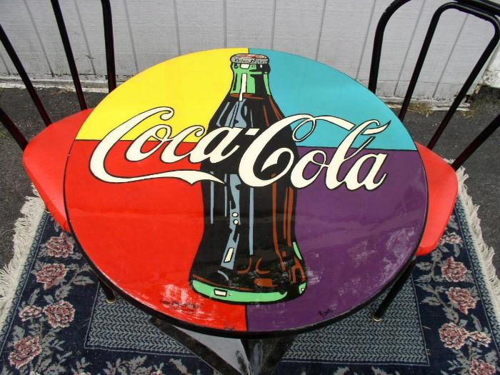 coca cola table and chairs brass lantern antiques