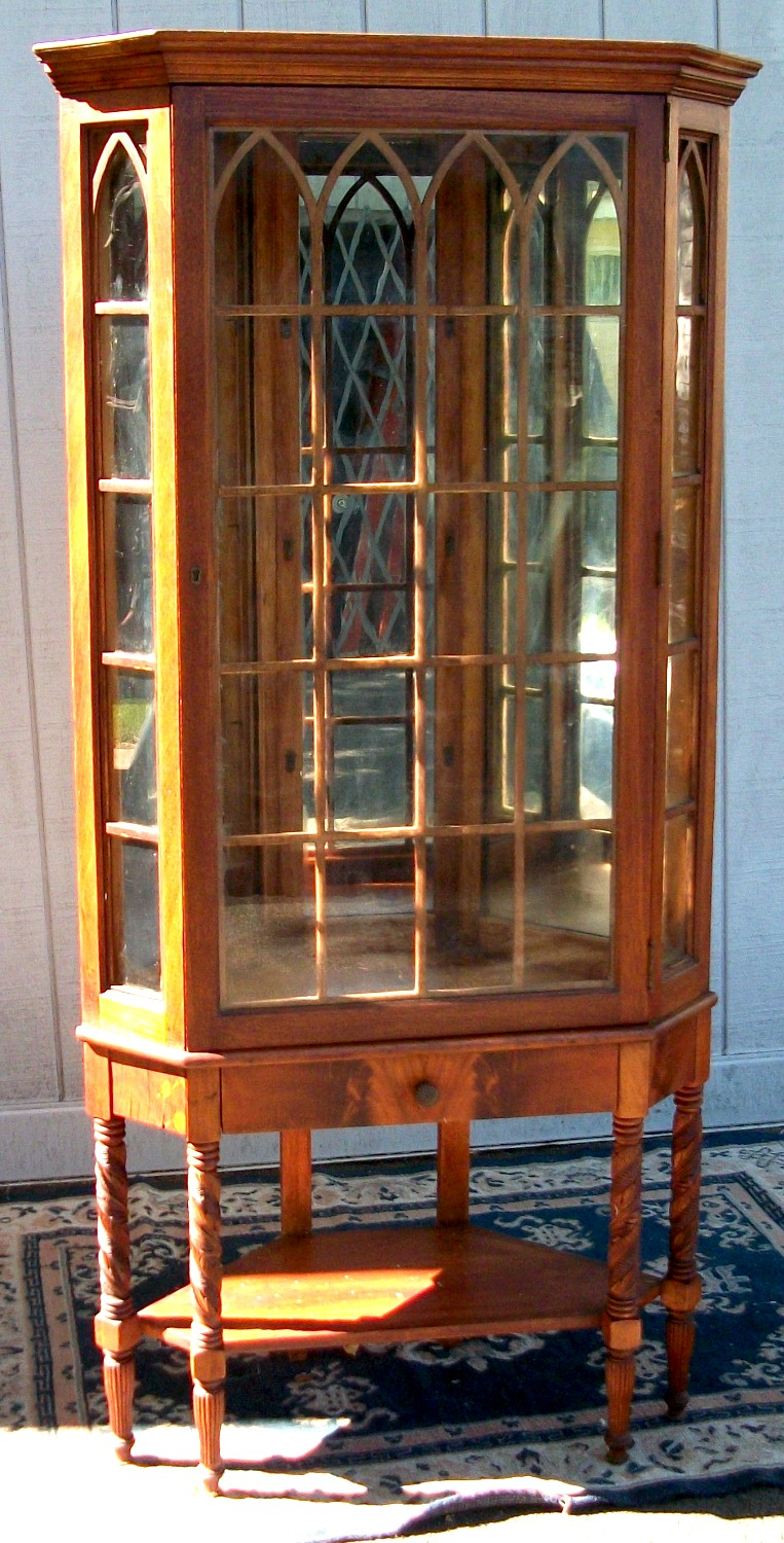 - Walnut Corner China Cabinet, BRASS LANTERN ANTIQUES