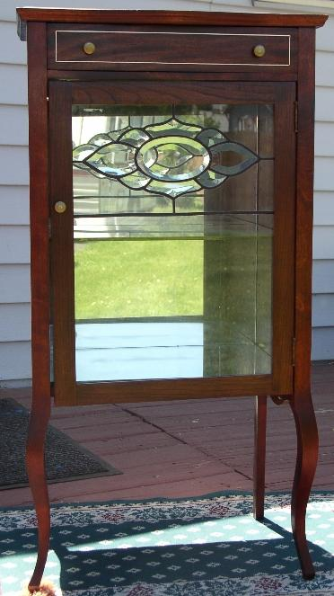 Mahogany Curio Cabinet With Bevelled Glass Door Brass Lantern Antiques