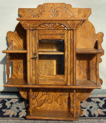 - Carved Oak Wall Hanging Curio Cabinet, BRASS LANTERN ANTIQUES