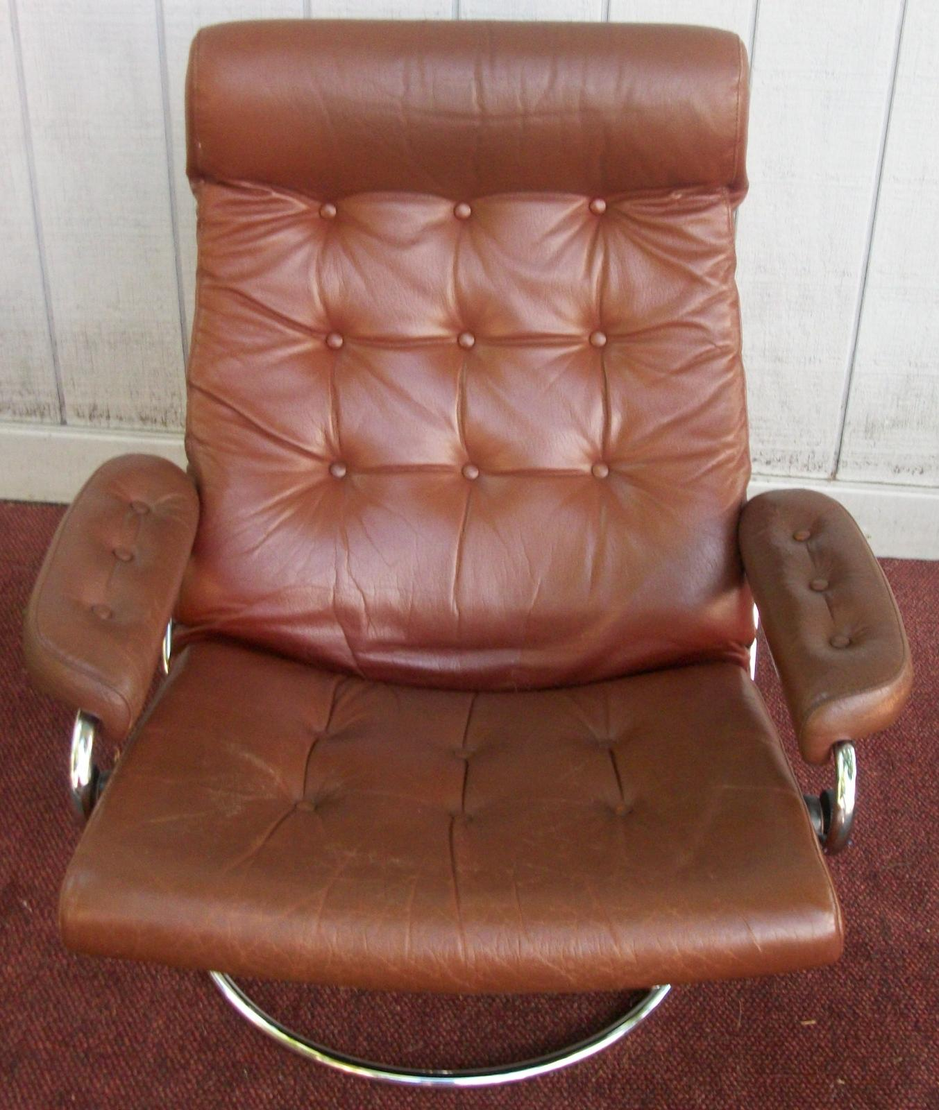 Ekornes Stressless Lounge Chair/Recliner Leather Chair And Ottoman, BRASS  LANTERN ANTIQUES