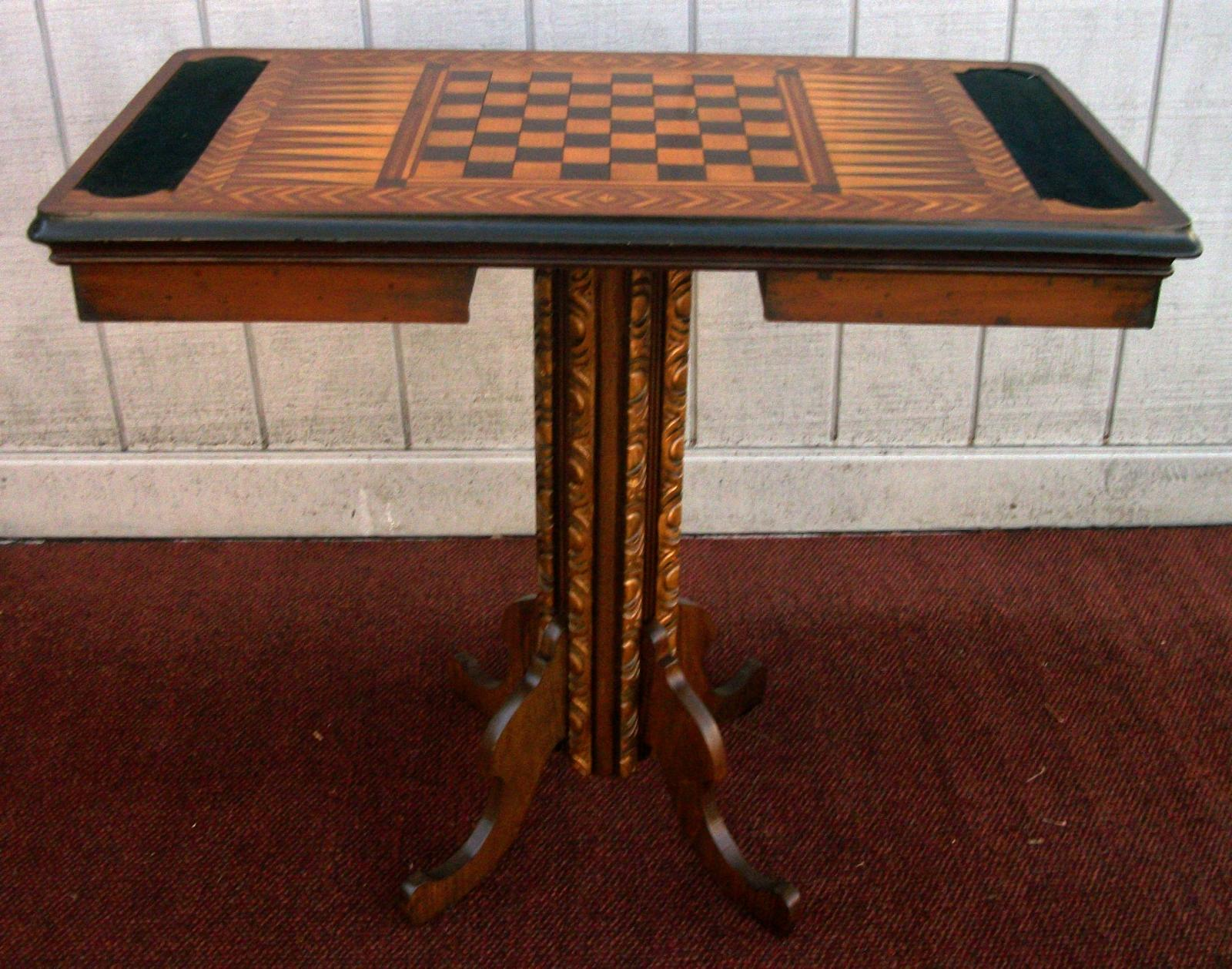 Perfect Vintage Antique Walnut Game Table Inlaid With Assorted Woods