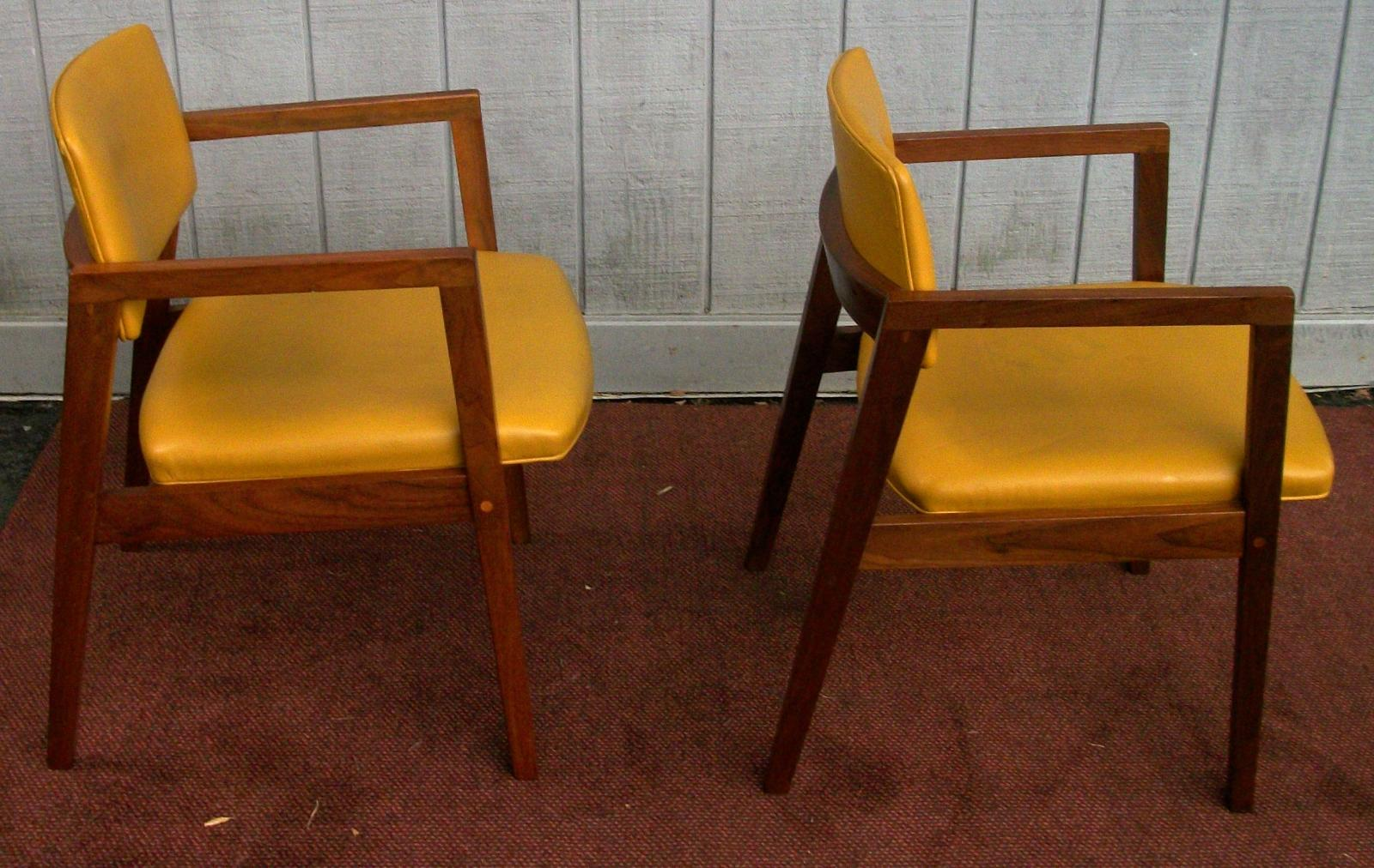 Pair Mid Century Modern Padded Chairs Brass Lantern Antiques