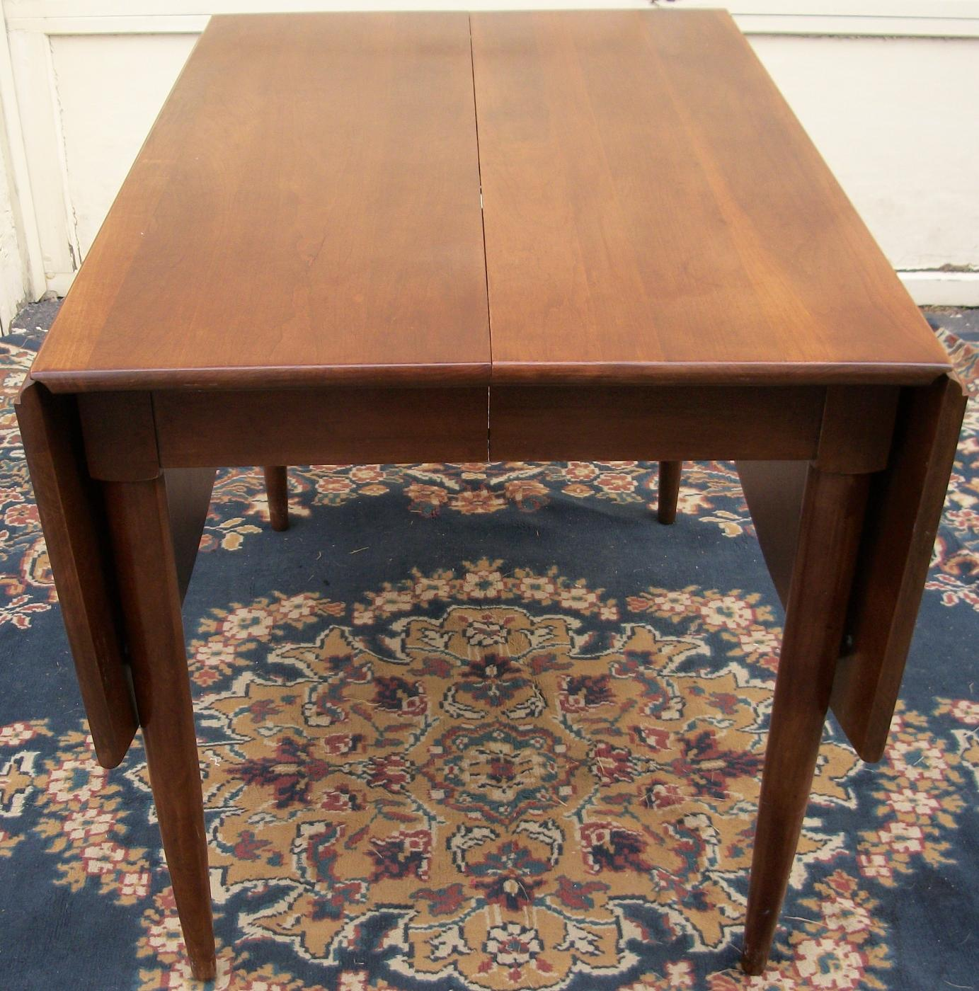 Willett cherry drop leaf dining room table w six for Dining table with two leaves