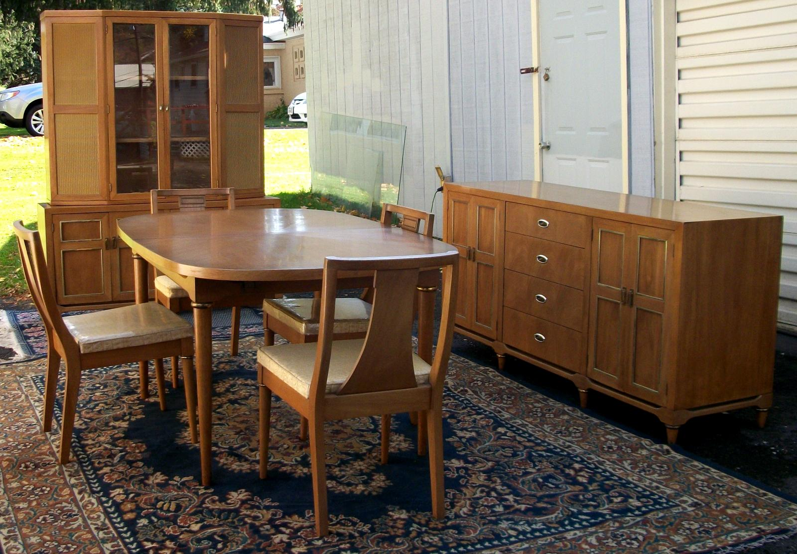 Modern Walnut Dining Room Set, BRASS LANTERN ANTIQUES