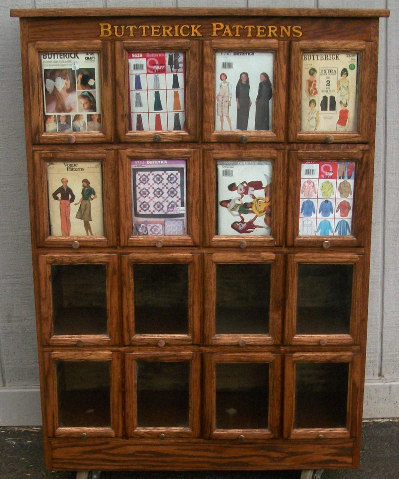 Rare Paragon Garter Store Display Case, Oak Butterick Pattern Cabinet - Country Store Display Cases, BRASS LANTERN ANTIQUES