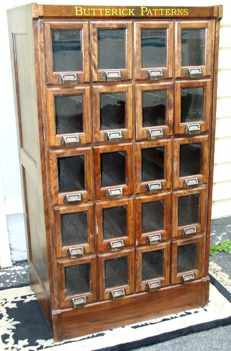 Mahogany Butterick Pattern Cabinet 20 Glass Front Drawers
