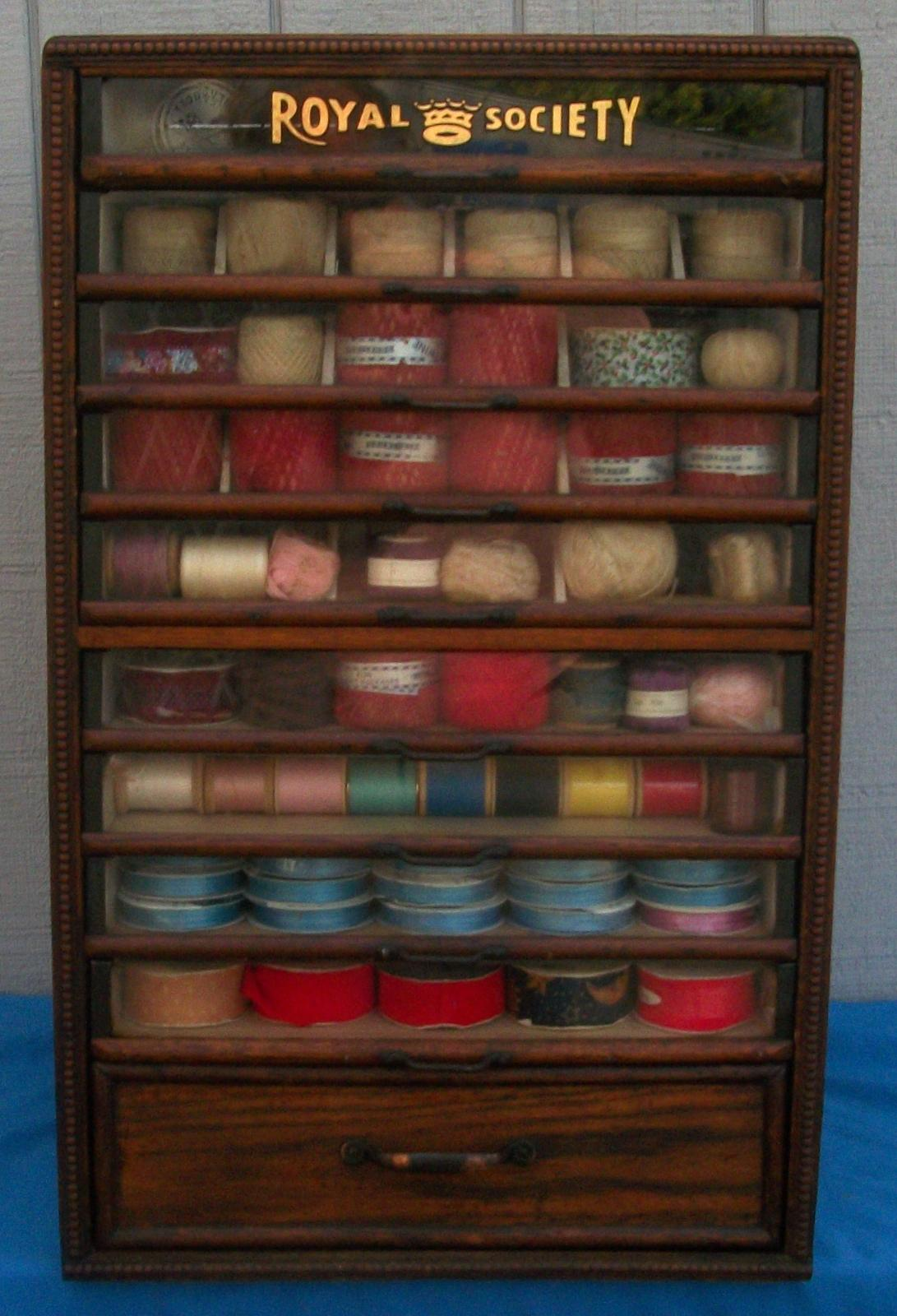 Royal Society Spool Cabinet with 9 Glass Front Drawers, BRASS LANTERN  ANTIQUES - Royal Society Spool Cabinet With 9 Glass Front Drawers, BRASS