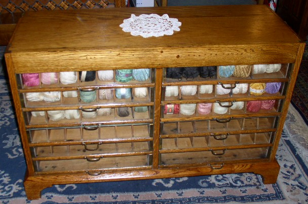 Oak Yarn Cabinet with Glass Front Drawers, BRASS LANTERN ANTIQUES
