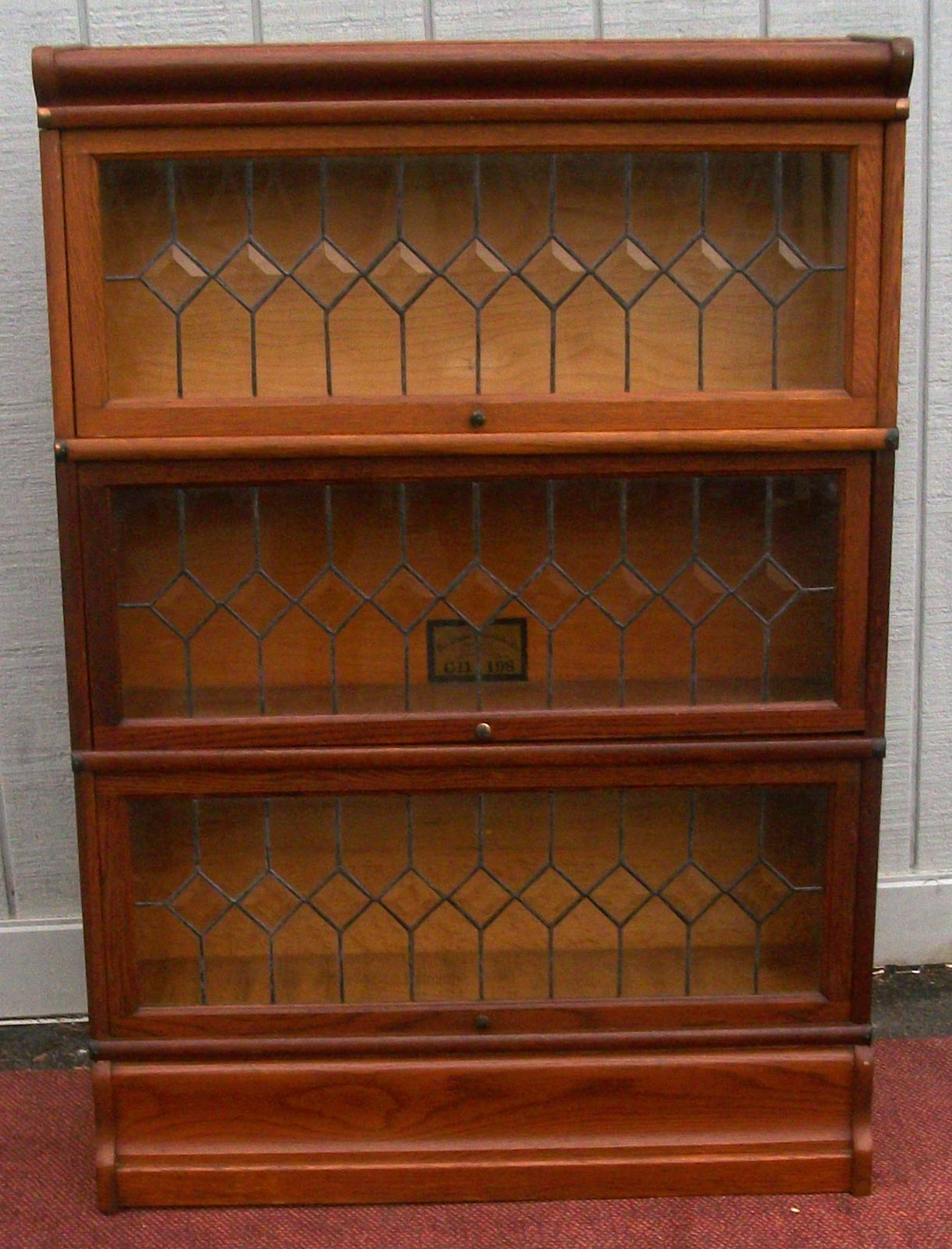 1600 #3F1F0E  Globe Wernicke Oak Stacking Bookcase With 3 Leaded Glass Door Sections image Ebay Entry Doors 41531220