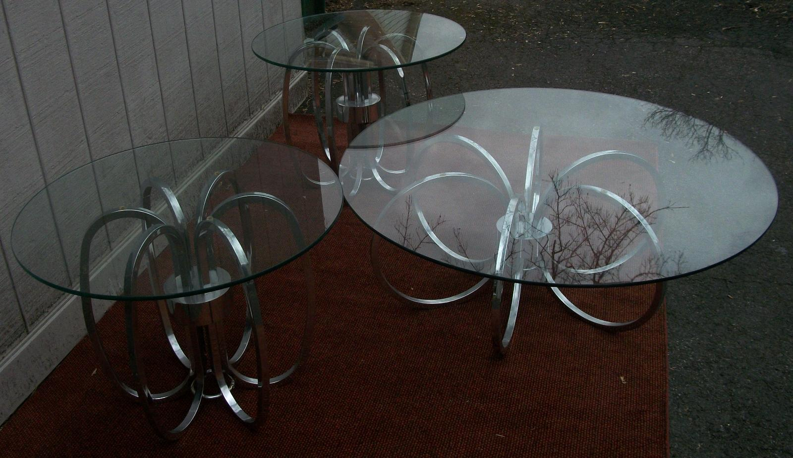Glass Top Chrome Coffee Table 2 Side Tables Mid Century Modern