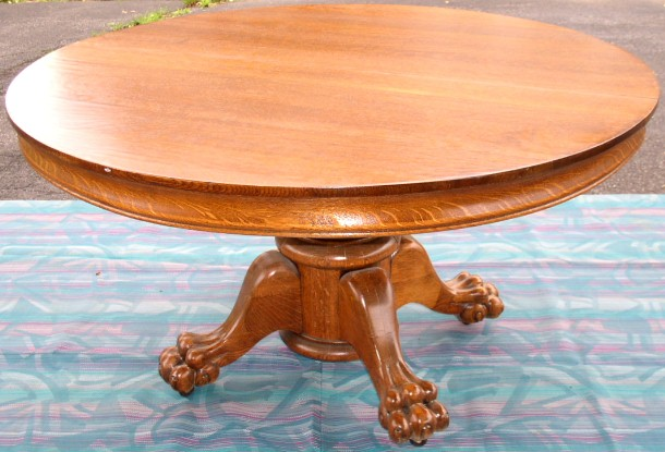 Round Oak Table With Claw Foot Pedestal Brass Lantern