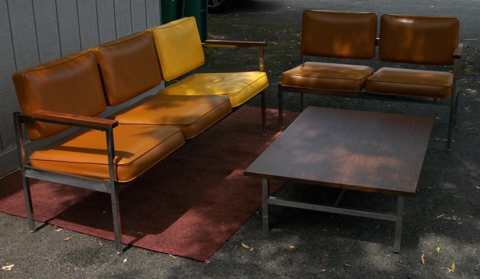 Unique Mid Century Modern Waiting Room Set Two Sectional Couches And One Table