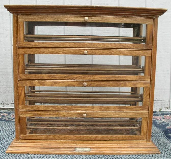 Oak Double Sided Ribbon Cabinet, 4 Doors on Both Sides ...